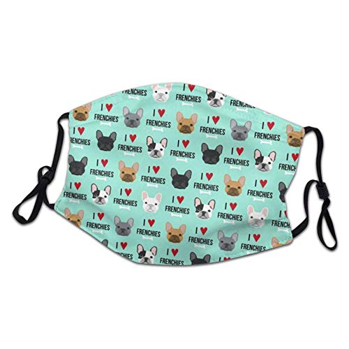 Kids Face Mask,Reusable Frenchie Dog I Love French Bulldogs Frenchie Face Aqua Decorative Masks with Adjustable Earloop Breathable Warm Childrens Cloth Face Cover for Girls Boys