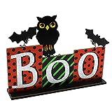 ABOOFAN Decoración de Mesa de Madera de Halloween Signo de Mesa de Truco O Trato con Bat Owl Mesa Centro DE Mesa Decoración de Mesa de Halloween