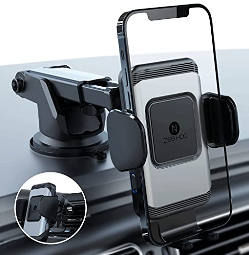 ZeeHoo Wireless Car Charger,10W Qi Fast Charging Auto-Clamping Car Mount,Windshield Dash Air Vent Phone Holder (Silver)