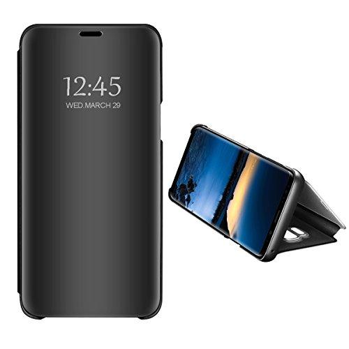 Hülle Kompatibel mit Galaxy J4 / Galaxy J6 2018 Spiegel Schutzhülle Flip Handy Case Tasche mit Standfunktion Business Serie Hart Case Cover für Galaxy J4 Galaxy J6 (Schwarz, Galaxy J6 2018)