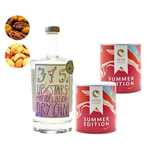 Upstairs Dry Gin Geschenkset | 315 Upstairs Gin mit frisch gerösteten Nussmischungen von KERNenergie als edles Gin-Set