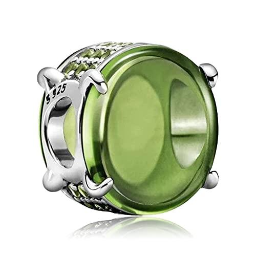 Annmors Charms Océano Verde Abalorios Colgante de Cuentas Plata de Ley 925 con Compatible con Europeo Pulsera Collar,Charms de Festival Cumpleaños Para Mujer Niña