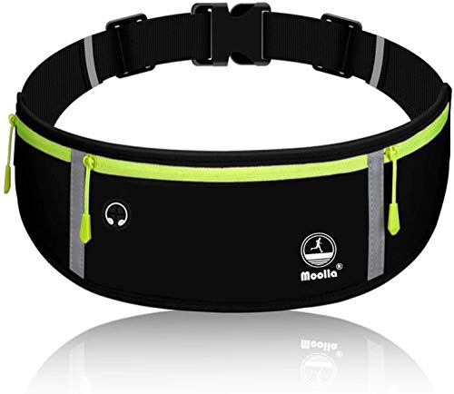 Running Belt, Fanny Pack for Women Men, Water Resistant Waist Pack, Runners Belt for Hiking Fitness Travel - Adjustable Running Pouch Phone Holder Accessories for iPhone Samsung - Black