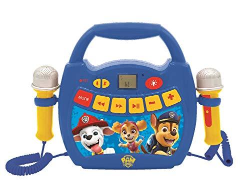 LEXIBOOK- Paw Patrol - Reproductor de música de Karaoke portátil para niños - Micrófonos, Efectos de luz, Bluetooth, Grabación y Cambio de Voz, Baterías Recargables, Azul/Rojo