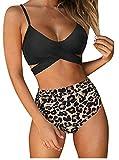 Eledobby Conjunto de Bikini Cruzado para Mujer Traje de Baño Sexy de Cintura Alta Push Up 2 Piezas Trajes de Baño con Relleno Traje de Baño de Verano Talla Grande Leopardo Negro XL