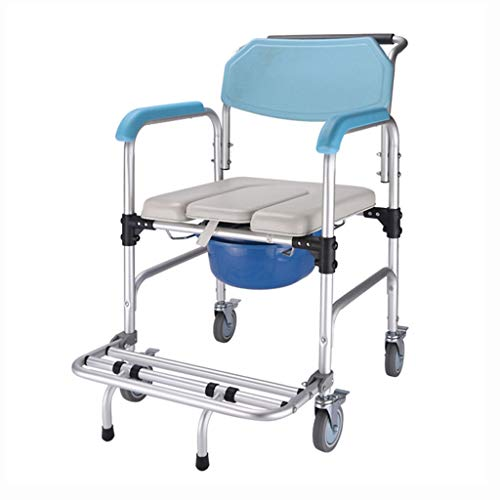 Toilet Chair Commode Chair Toilet Bathroom Aluminum Alloy Bath Chair Disabled Elderly Wheeled Bedside Commodes Bathroom Wheelchairs (Color : Blue, Size : 535590cm)