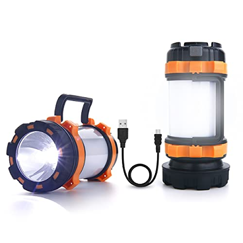 LED Camping Lantern Rechargeable, AYL Camping Flashlight 6 Modes, 4400mAh Power Bank, IPX4 Waterproof, Perfect Lantern Flashlight for Hurricane, Emergency, Power Outages, USB Cable Included (2 Pack)