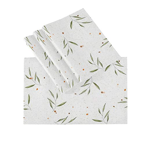 RAUP Placemats Set Of 4, Heat Insulation Washable Place Mats, Nature Terrazzo Mosaic Floral Background Greenery 18 X 12 Inches Kitchen Table Mats Placemat For Dining Table