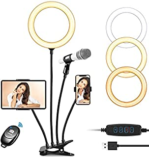 CREUSA 8'' Selfie Ring Light with Adjustable Cell Phone Holder, Dimmable LED Camera Ring Light with Flexible Arms for TikTok/Live Stream/Makeup/YouTube Compatible with iPhone Android (B08HV8JZ9M) | Amazon price tracker / tracking, Amazon price history charts, Amazon price watches, Amazon price drop alerts