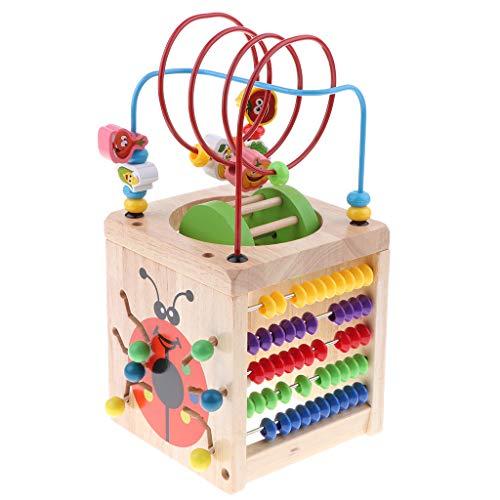 Perfeclan Activity Cube Mit Bead Maze Multifunktions Baby Achterbahn Shape Sorter, Zählen Von Zahlen, Alphabet Learning Puzzles, Gemüse Lernen