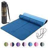 Lixada Gymnastikmatte Yogamatte rutschfest SGS-Zertifiziertes TPE Material Strukturierte rutschfeste Oberfläche und Optimale Dämpfung mit Tragegurt((72'x24')