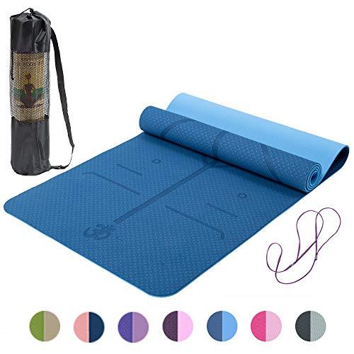 Lixada Gymnastikmatte Yogamatte rutschfest SGS-Zertifiziertes TPE Material Strukturierte rutschfeste Oberfläche und Optimale Dämpfung mit Tragegurt((72