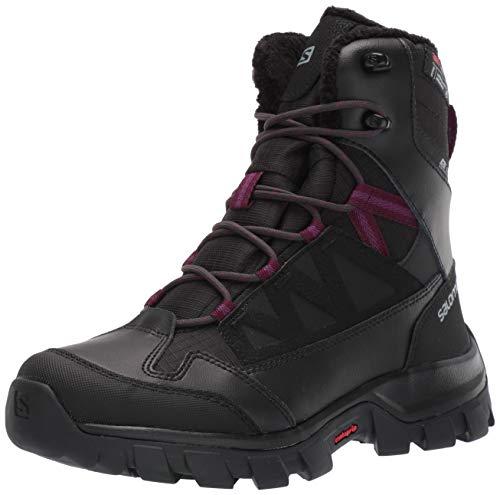 Salomon Women's Chalten TS CSWP Snow Boots, Black/Black/Potent Purple, 9.5