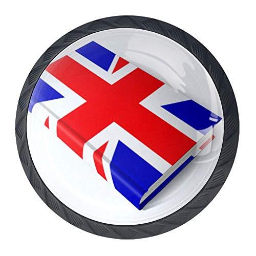 UK Flag Book Wardrobe Drawer Dresser Knobs Cabinet Cupboard Bookcase with Screws 4pcs Pulls Handle