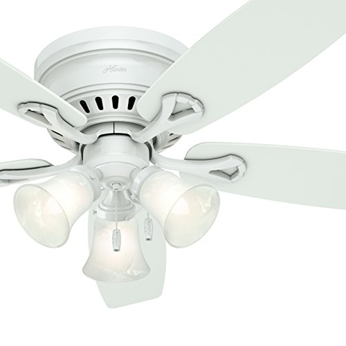 Hunter Fan 52in White Finish Low Profile Ceiling Fan with Swirled Marble Glass Light Kit (Renewed)
