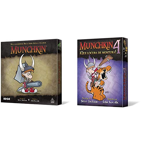 Edge Munchkin MU01 Juego de Mesa + Entertainment Munchkin 4: Qué Locura de Montura, Juego de Mesa
