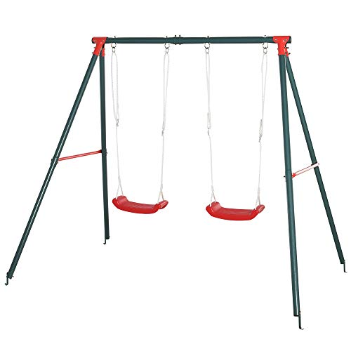 Outsunny Columpio Doble para Niños +3 Años con Soporte de Metal Juego de Columpio Infantil Cuerda Ajustable Exteriores Carga Máx. 40kg 220x160x180cm Verde Rojo