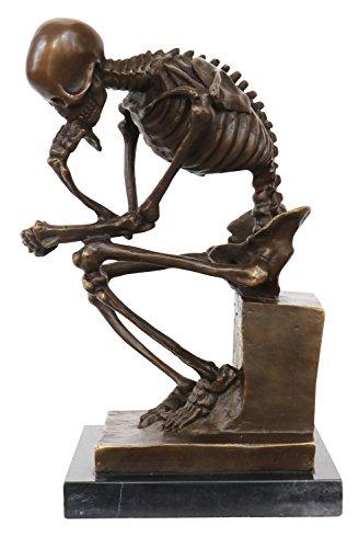 aubaho Bronze Skelett Denker Mann Bronzefigur Bronzeskulptur nach Rodin Skulptur Figur Replik Kopie