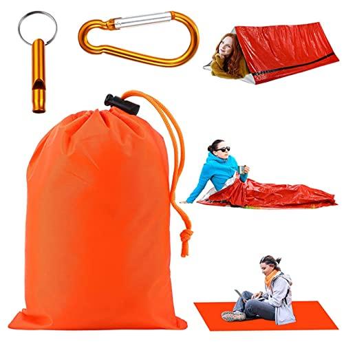 Xiaomu Saco de dormir con silbato y mosquetón, colchoneta aislante ultraligera con funda para saco de dormir, impermeable, para 1 persona
