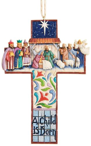 "Jim Shore Heartwood Creek Cross Nativity Scene Stone Resin Hanging Ornament, 4.75"""