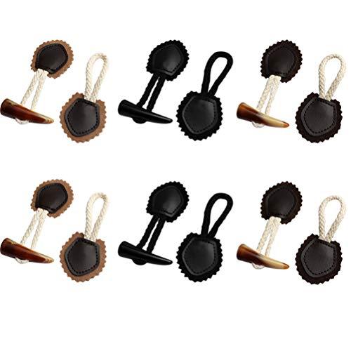 SOIMISS 6 Paia di Bottoni a Levetta in Pelle Pu Alamari da Cucire con Bottone in Corno in Resina per Cucire Giacca Accessori Artigianali di Cucito Fai da Te
