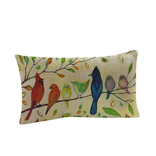 Pillow Case, Cotton Linen Rectangle Flowers Birds Print Decorative Throw Pillow Case Bed Home Decor Cushion Cover (B)