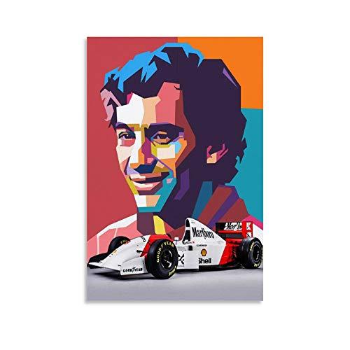 Póster de Ayrton Senna y coche para pared, diseño moderno, 50 x 75 cm