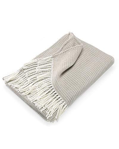 myHomery Sommerdecke Strick leicht & kuschelig - Wolldecke Fransen - Kuscheldecke Design modern Sofadecke - Decke Baumwolle- Beige | 130 x 170 cm
