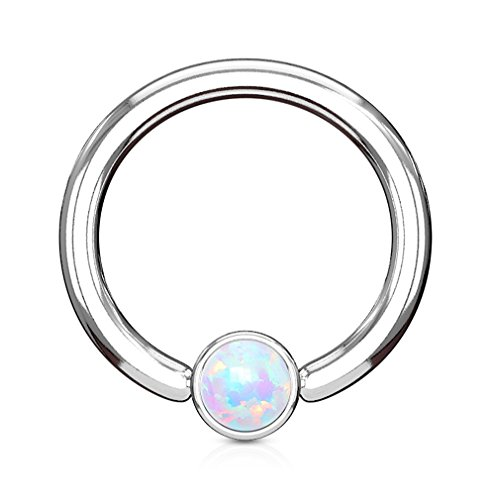 Kultpiercing - Klemmkugelring Piercing Septum Cartilage Helix Captive Bead Ring mit Opal in Silber 1,2 x 8 x 3 mm - Weiß