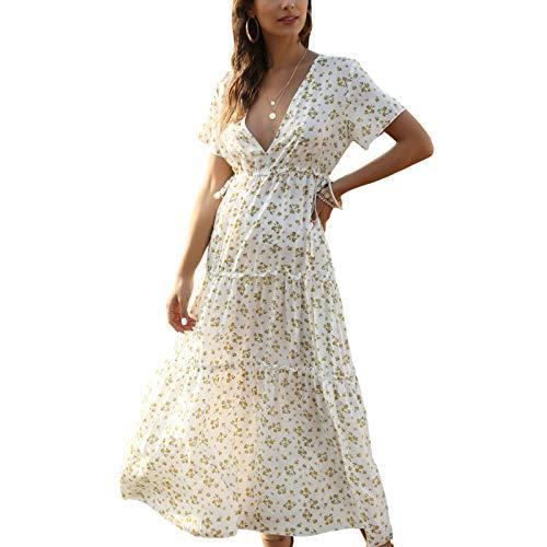 Vestido largo bohemio estampado floral con mangas para mujer, casual, floral, bohemio, playa, verano, cintura alta, suelto, vestido largo