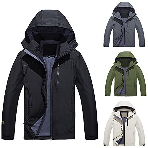 Chaquetas de hombre Windbreak impermeable con capucha delgada chaqueta, Ejercito Verde, XXXXXL