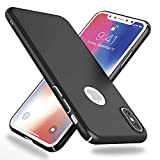 NALIA Funda Compatible con iPhone X XS, Hard-Case Protectora Ultra-Fina Bumper Carcasa Dura en Look de Metal, Ligera Cubierta Telefono Movil Cobertura Premium Smart-Phone Cover, Color:Negro