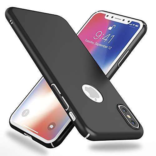 NALIA Funda Compatible con iPhone XS MAX, Hard-Case Protectora Ultra-Fina Bumper Carcasa Dura en Look de Metal, Ligera Cubierta Telefono Movil Cobertura Premium Smart-Phone Cover, Color:Negro
