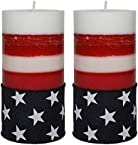 American Flag Pillar Candles - US Patriotic Veteran Table Decor Red Blue White - Scented Unscented - Set of 2-3x6-100 Hour - 20 oz each - Independence Day July 4th Decoration- Made in USA