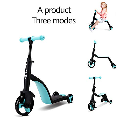 JZAMY 2 in 1 | 2 Children's and Toddler's Scooters with Movable Seats, Balance Bikes, 3 Height-Adjustable Children's Scooters, Best Birthday Gifts for Boys Aged 2-8,Blue