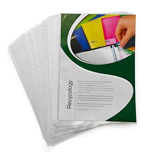 Pentel - Premium Transparente Fundas Perforadas Fundas - Poli Bolsillos -A4-Superior Apertura - Paquete de 50-50% Recicladas Contenido