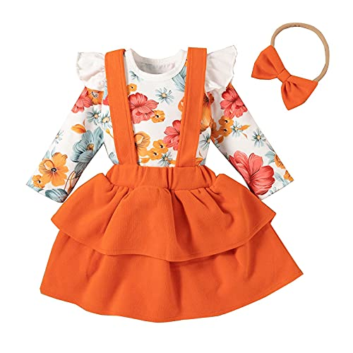 Baby Girl Clothes Set Short Sleeve Flower Ruffle Romper Suspender Mini Skirt Outfit with Headband