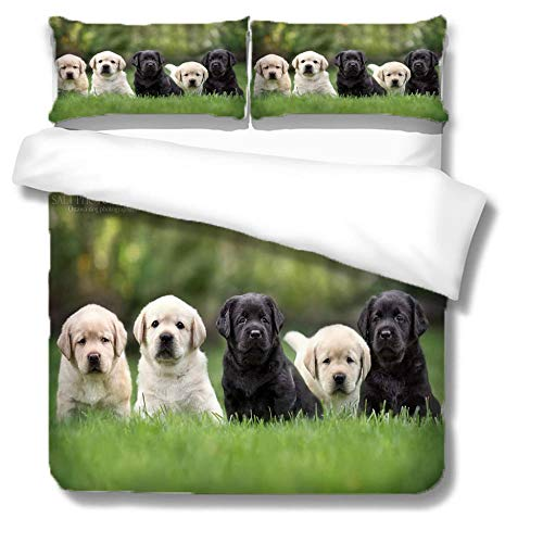 Duvet King Size Grassland Animal Dog Group For Boys Teens 3D Pattern Bedding Set Printing Comforter Cover With 2 Pillow Zipper Microfiber,220X230