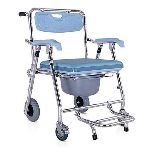AOLI Multifunktionale Transport Rollstuhl und Duschstuhl, faltbarer Aufzug WC-Sitz mit WC und Fuss-Auflage, Toilettenstuhl, unterstützte von Senioren und Behinderten