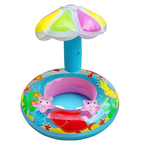 TheBigThumb Asiento inflable para bebé, flotador de piscina de bebé, asiento inflable para bebé, círculo flotador para piscina, juguete con sombrilla ajustable y seguro para niños de 1 a 6 años