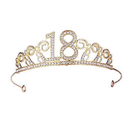 Beaupretty Geburtstag Krone Legierung Strass 18. Nummer Geburtstag Krone Tiara Kopfschmuck Haarschmuck für Geburtstagsparty (Golden)