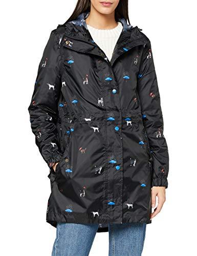 Joules Women's Rain Jacket, Black Cat Dog, 2