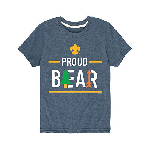 Boy Scouts of America Icon Bear Cub Scout - Youth Short Sleeve Graphic T-Shirt Heather Blue