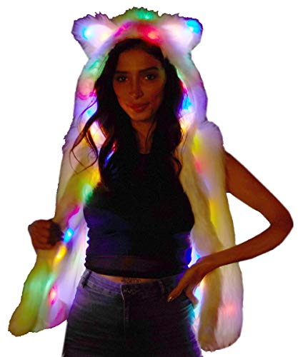 NIHUA Womens Faux Bont LED Vest Oplichten Rave Hoodies Gilets Jas Kat Oren Xmas Verjaardag Party Fancy Jurk