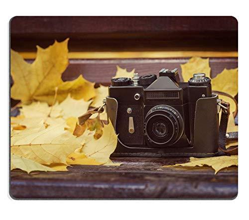 Rutschfeste Mousemat Gummi Mauspad,Gaming Mousepad Vintage Kamera Auf Holzbank Im Herbst Park Style Getönt 30X25CM,Maus Mausunterlage,Rutschfeste Unterseite