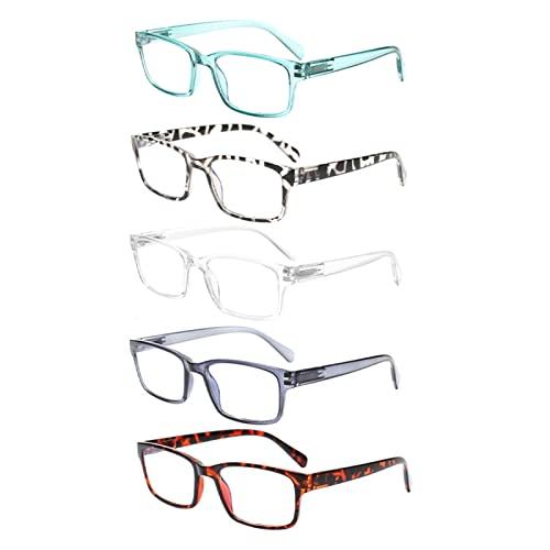 Gafas de Lectura, 5 Paquetes de Lectura, lectores de Bloqueo de luz Azul for Mujeres y Hombres Anti deslumbramiento, computadora UV Gafas de Filtro (Color : +3, Size : 5 Mix Colour)