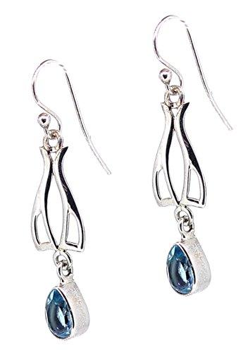 Ohrhänger blauer Topas facettiert, 925er Sterling Silber, Edeltopas blau, Edelstein Ohrringe