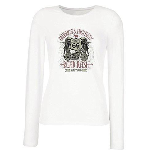lepni.me Weibliche Langen Ärmeln T-Shirt Route 66, Amerikas Autobahn - Road Rash, Biker-Kleidung (Large Weiß Mehrfarben)