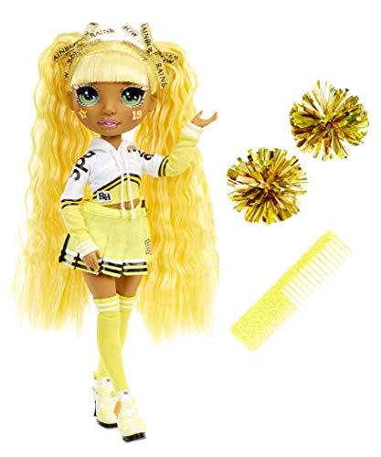 Rainbow High Cheer Muñeca de Moda - Vestidos elegantes, Pompones y Muñeca Animadora Sunny Madison en Amarillo - Serie Rainbow High Cheer - Regalo Perfecto para Niñas a Partir de los 6 Años