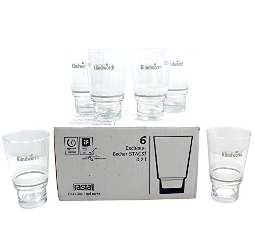 Klindworth 6X Gläser Set 0,2l Stack Saft-Glas ~mn 825 1112